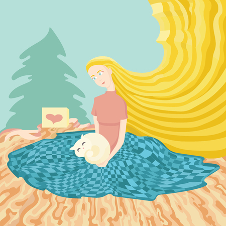 Illustration of young girl sitting at the floor with gift cat near the christmas tree on the floor Illustration