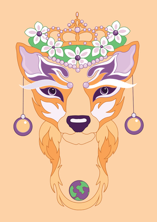 earrings: illustration of decorative fox with planet Eath and earrings