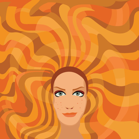 curly hair: ginger woman with long curly hair