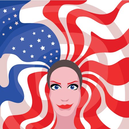 make up model: woman with american flag hair Illustration