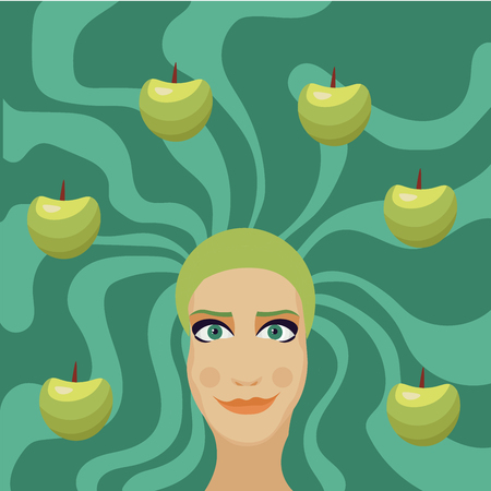 green hair: woman with green hair with apples