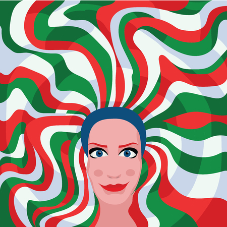 woman with green red white hair color Stock Illustratie