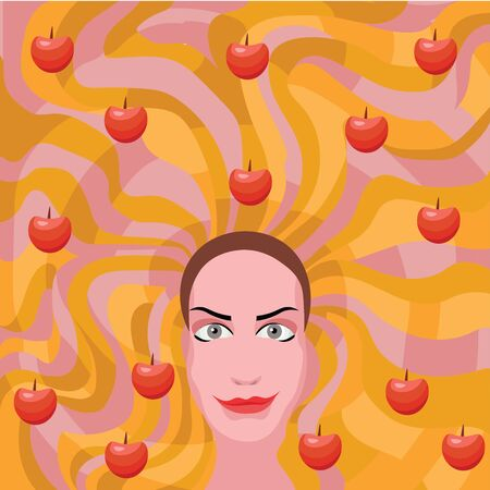 make up model: ginger woman with apples in hair Illustration