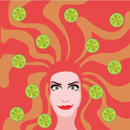 Mujer principal roja con las cales en el cabello