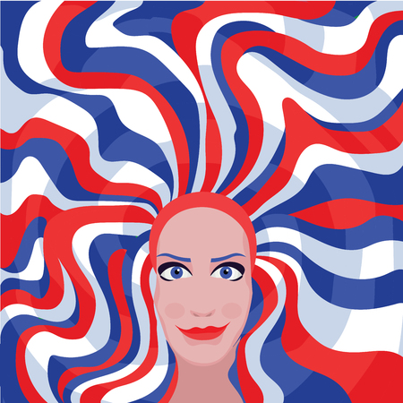 hair color: woman with blue red white hair color Illustration