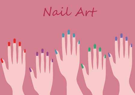 french manicure: color nail design and art illustration