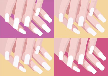 nail art: set of four color nail design and art with manicure fingers illustration with pink violet and yellow backgroung