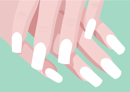 french manicure: ladys heands and manicure fingers with place for art nail design with green background Illustration