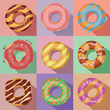 vector set of nine tasty colorful donuts