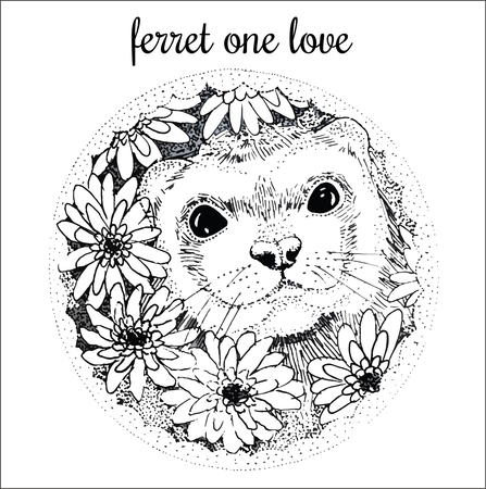 marten: Ferret handdrawn illustration with flowers