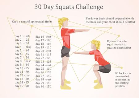days: 30 days squats challenge illustration