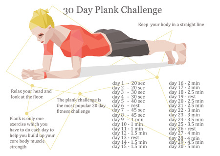 plank position: 30 days plank challenge illustration