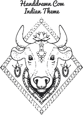 wildlive: hand drawn Illustration of indian cow