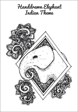 budha: hand drawn illustration of indian elephant
