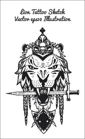 hand drawn illustration of lion sketch