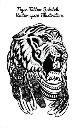 agressive: hand drawn illustration of tiger sketch