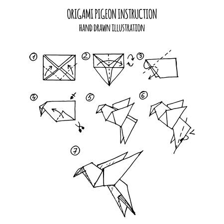 dibujado a mano ilustración paso a paso de paloma de origami