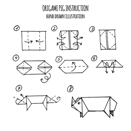 hand drawn illustration step by step of pig origami