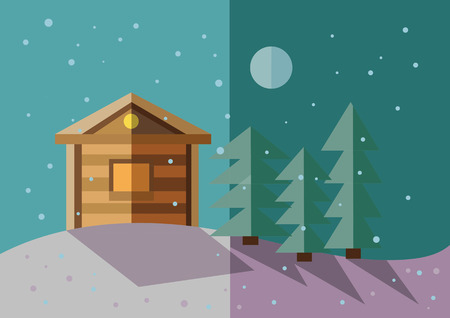 nigth: flat illustration of winter landscape with villiage house, trees , snow and moon