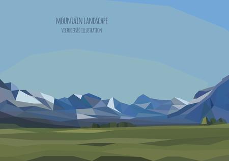 vecteur paysage illustration avec des montagnes et champ vert Vecteurs