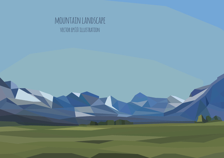 background picture: vector landscape illustration with mountains and green field