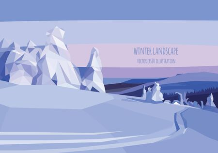 spruse: vector landscape illustration with snow trees and field