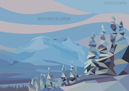 vecteur hiver paysage illustration avec des montagnes et des arbres