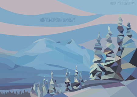 spruse: vector winter landscape illustration with mountains and trees Illustration