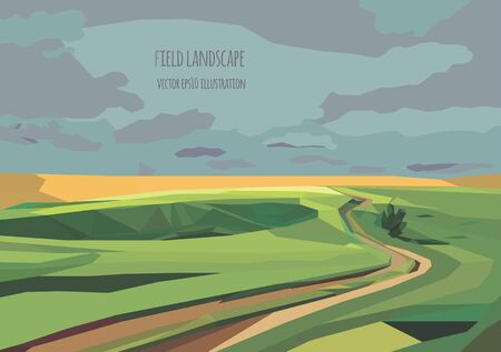 paysage: vector landscape illustration with green field and road Illustration