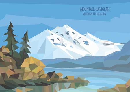 spruse: vector landscape illustration with ice mountains, lake and trees