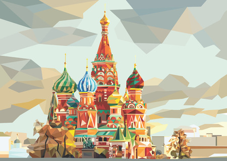 St. Basil's Cathedral on the red square in Moscow Russia 向量圖像