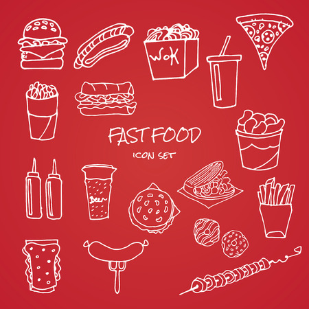 unhealthy food: set of fast food icons on red background