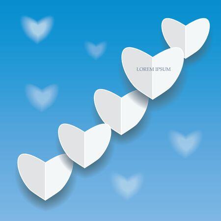 corazones azules: corazones de papel sobre fondo azul