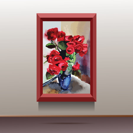canvas on wall: illustration of red canvas on the wall with flowers in blue vase Illustration