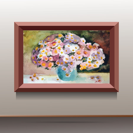 canvas on wall: illustration of brown canvas on the wall with flowers in green vase