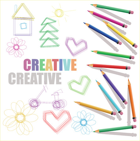multiple house: vector Color pencils with kids drawings and text creative