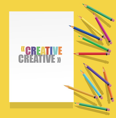 blanck: vector Color pencils with white paper with text