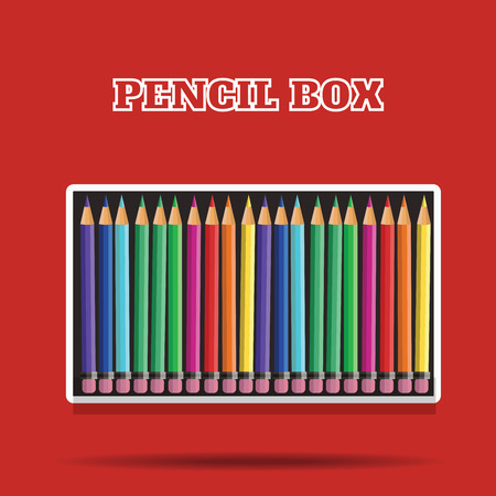 blanck: vector colored pencils in box on red background