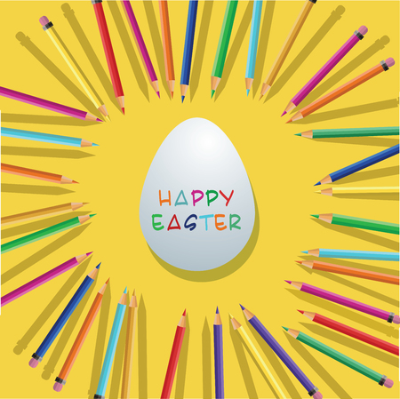 vector Color pencils with easter egg on yellow background
