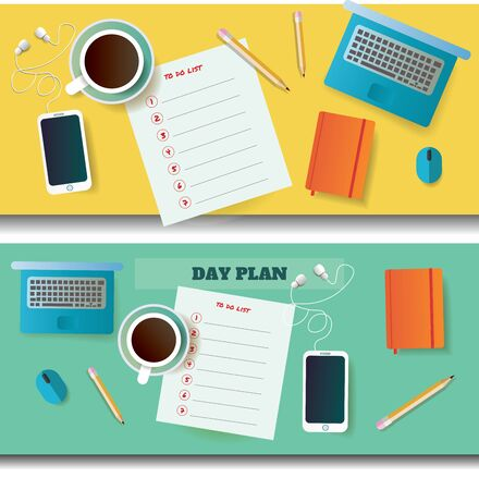 dayplanner: two vector illustrations of table with day plan blank and different objects