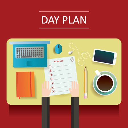 moleskine: vector illustration of yellow table with day plan blank and different objects Illustration
