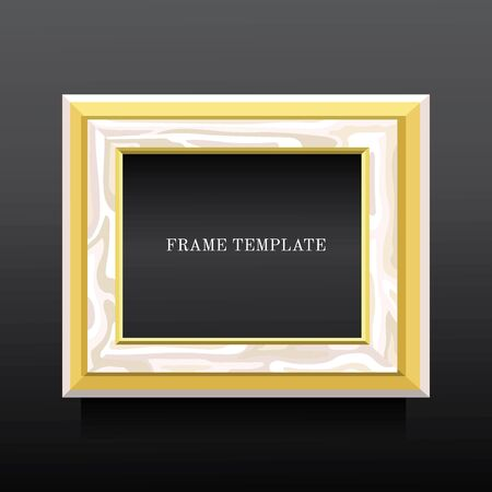 gilding: golden and white wooden classic frame   on dark background Illustration