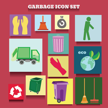 cleaning planet: vector icon collection of garbage and cleaning theme