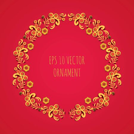 greeting cards: wreath illustration of traditional folk russian floral old ornament named khokhloma on red background