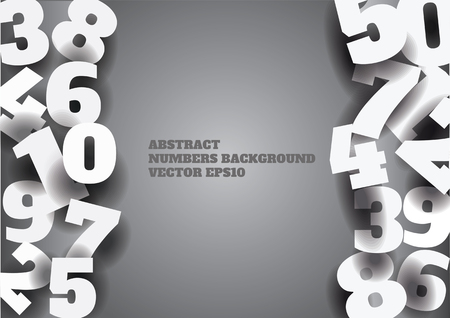 web 2 0: vector abstract gray background with 3d numbers