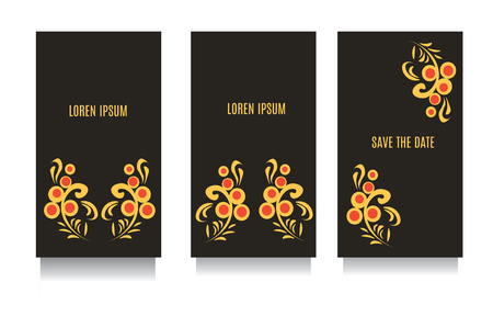 khokhloma: Decorative templates for invitations, greeting, visit cards and vouchers at khokhloma floral traditional  style with black background