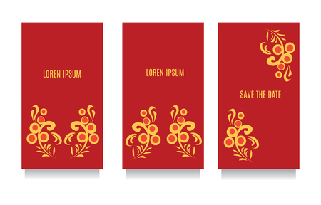 khokhloma: Decorative templates for invitations, greeting, visit cards and vouchers at khokhloma floral traditional style with red background