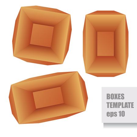 ambience: Paper brown three vector boxes template, top view Illustration