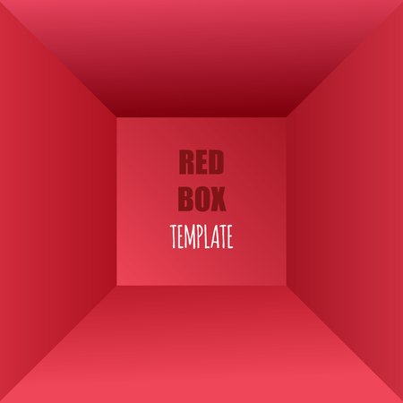 interior cell: Vector illustration of red box, top view. Empty space