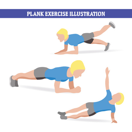 ways: Illustration of woman doing plank exercises in different ways